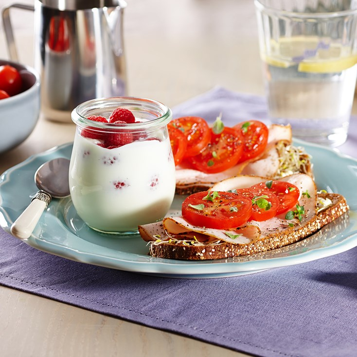 Turkey sandwich and raspberry yoghurt