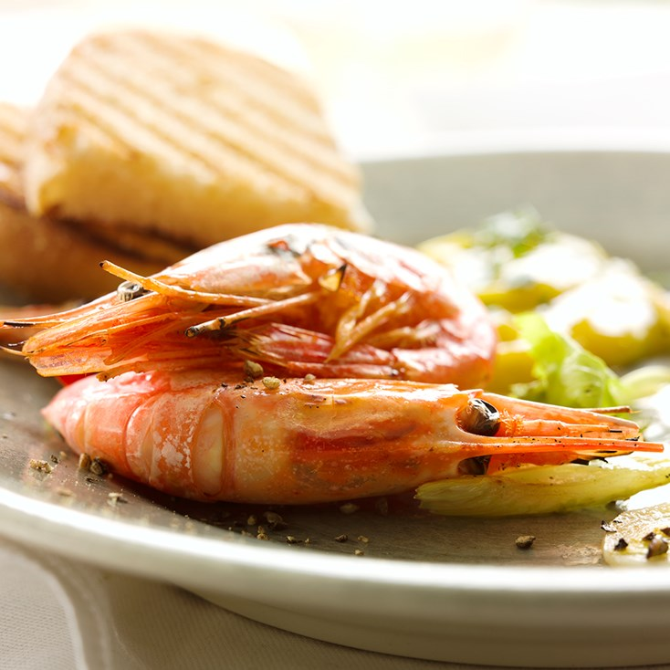 Roasted prawns with basil mayonnaise